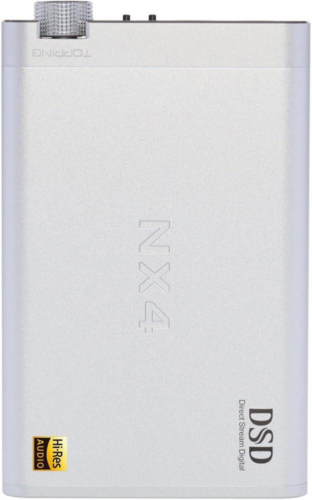 Topping NX4 DSD Portable Headphone Amplifier DSD512 DAC 32bit//768kHz ES9038Q2M Bass Treble USB DAC Amplifier Sliver