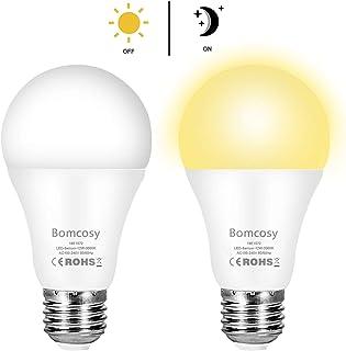 Bombilla con Sensor Crepuscular, Bomcosy Bombillas E27 LED Sensor, 12W Equivalente a 100W, Blanco Cálido 3000k, Amanecer hasta el Atardecer Encendido/Apagado Automático, Para Camino, Jardín 2 piezas