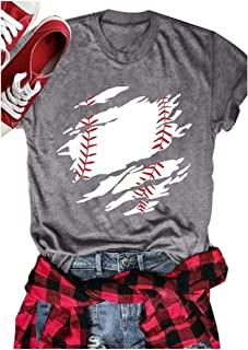 1f59479b Chulianyouhuo Women Baseball Mom T-Shirts Letter Printed O-Neck Short  Sleeves Casual Top