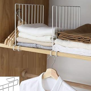 Inditradition Wardrobe Shelf Divider, Cloth Organizer   Wardrobe Closet Separator (Metal, White) (Pack of 2)