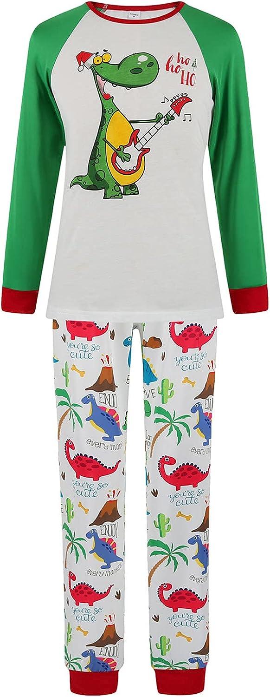 Goldweather Matching Family Pajamas Suit Dinosaur Print Long Sleeve Tee + Pants Pjs Sets Holiday Party Sleepwear Loungewear