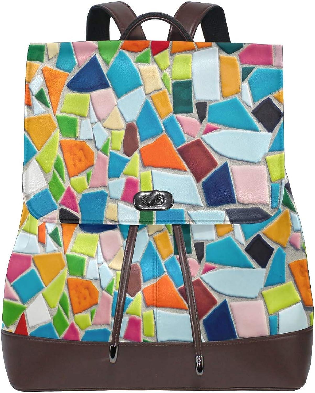 FAJRO colorful Mosaic Art Pattern Travel Backpack Leather Handbag School Pack