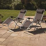 <span class='highlight'><span class='highlight'>Kingfisher</span></span> Reclining Zero Gravity Sun Chair Lounger - Twin Pack