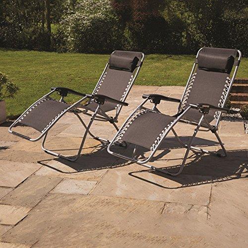 Kingfisher Reclining Zero Gravity Sun Chair Lounger - Twin Pack