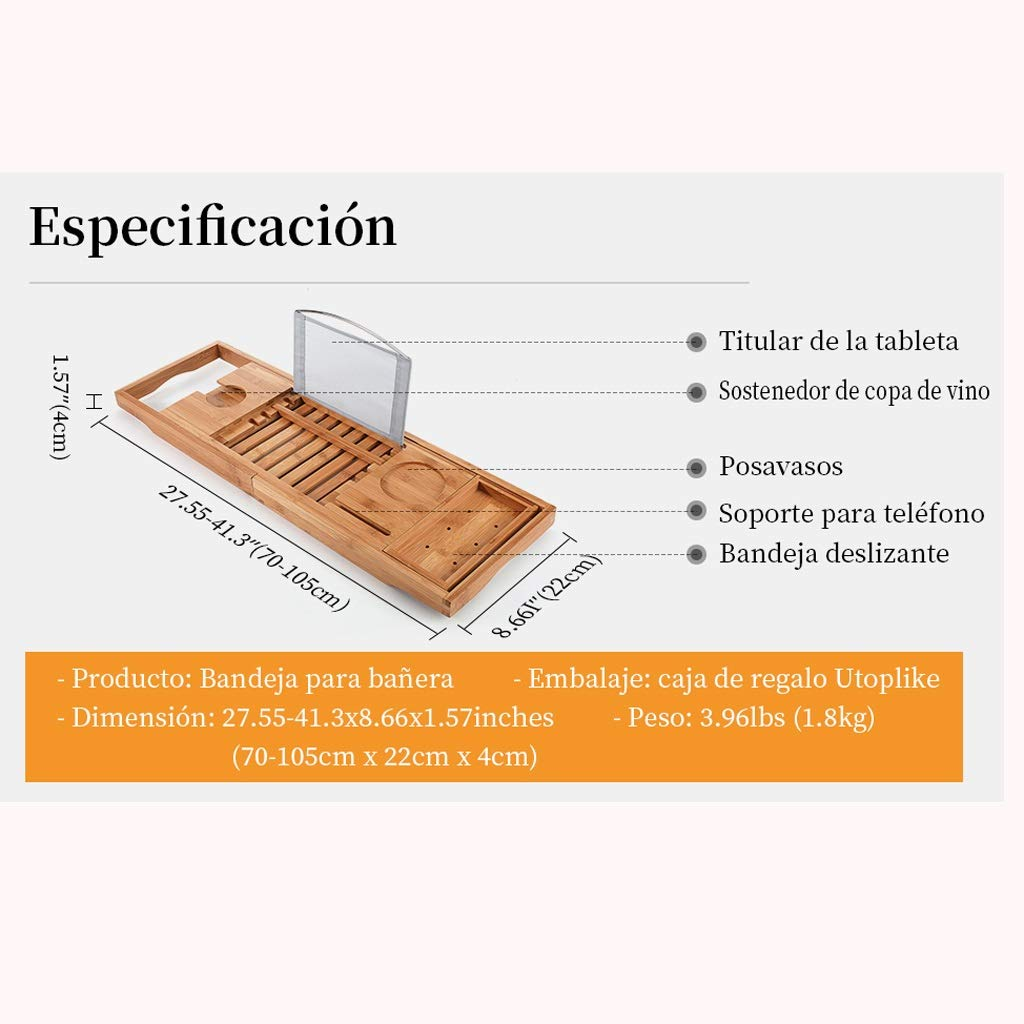 Kdrirad Bandeja de Bambú for Bañera Extensible Brazos Laterales Ajustables con Soporte for Copa de Vino/Reposa Libros(70-105) x22x4cm: Amazon.es: Hogar