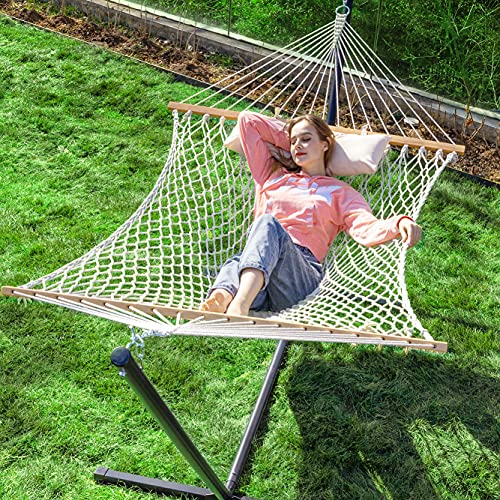 of garden patio hammocks dec 2021 theres one clear winner PNAEUT Max 475lbs Capacity Double Hammock with Stand Included 2 Person Heavy Duty Traditional 2 People Rope Hammocks Stand with Pillow for Outside Porch Patio Garden Backyard Outdoor ( Burlywood )