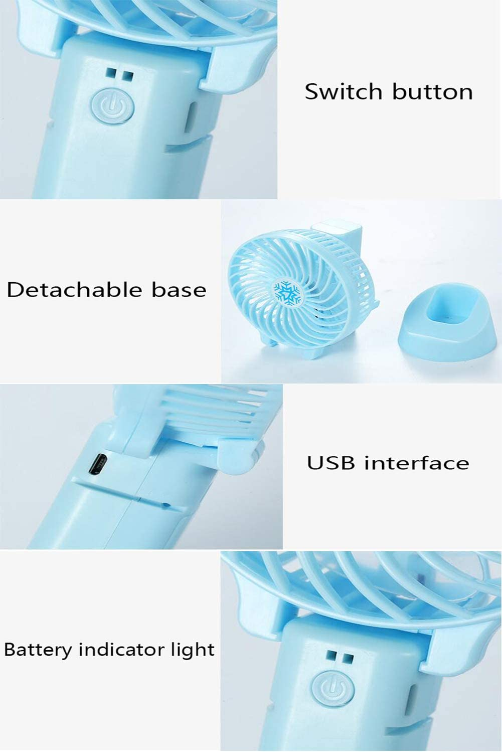 Lh$yu Portable Mini Fan,USB Foldable Desktop Table Cooling Hand Fan for Office Outdoor Sport Household Traveling Camping,White