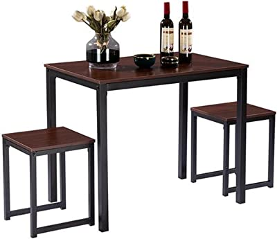 Patio Furniture Sets 3 Piece Dining Table Set Simple wo-od Grain 75cm High Dining Room Furniture Waterproof Durable Table 2 Chairs Kitchen Furniture by CHENGSYSTE (Color : Light Walnut Color)
