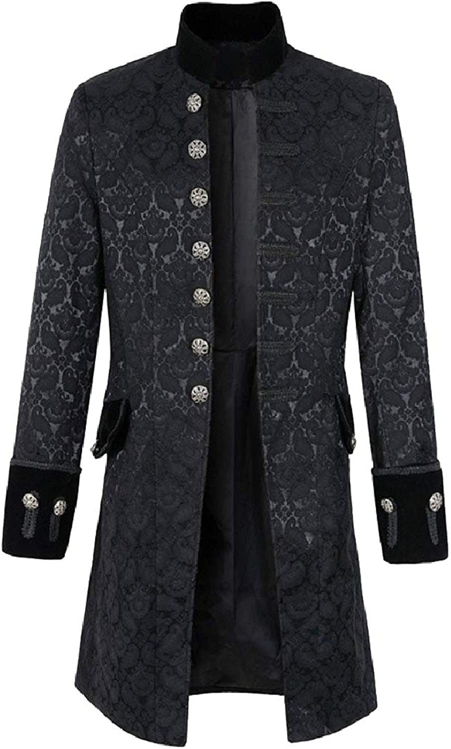 Aooword Men Stand Collar British Style Slim Fit Mid Length Trench Coat