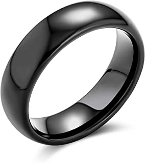 Plain Simple Dome Couples Black Silver Rose Gold Plated Titanium Wedding Band Ring for Men Women Comfort 6MM Size 4-14