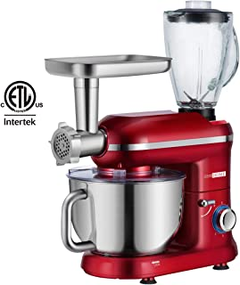 VIVOHOME 3 in 1 Electric 650W Multi-functional 6-Speed Tilt-Head Kitchen Stand Mixer Meat Grinder Juice Blender with 6 Quart Stainless Steel Bowl Red ETL Listed