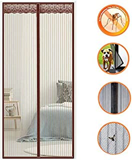 HXPH Magnetic Fly Screen Door, Heavy Duty Bug Mesh Curtain with Powerful Magnets and Full Frame Magic Tape, Insect Protection Door No Gap, Keep Bugs out Lets Fresh Air in,85×220cm(33×87inch) Brown