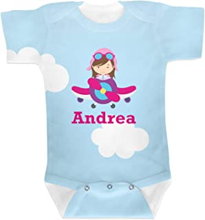 Airplane & Girl Pilot Baby Onesie (Personalized)