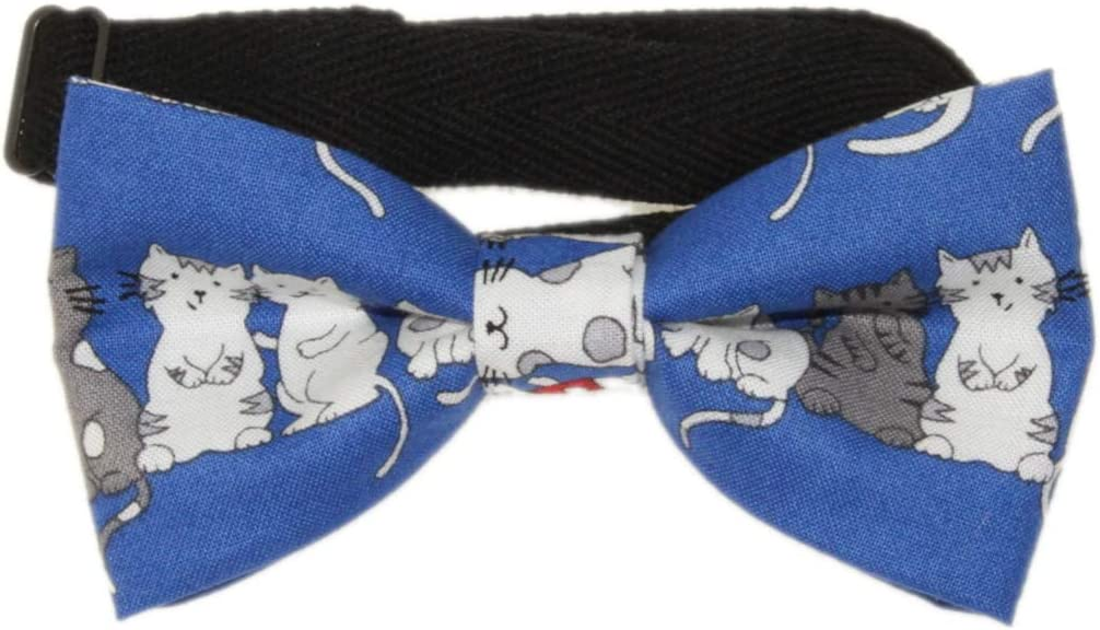 Men's Blue With Cats Pre-Tied Adjustable Cotton Bow Tie