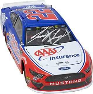 Joey Logano Signed Blue Replica 1:24 Nascar AAA Diecast Car BAS