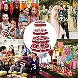 Queta Tortenständer Cupcake Ständer für Hochzeit, Party, Geburtstag, Baby Duschen & Kuchen Dessert, 4-stöckig Acryl, 15cm/ 18.7cm / 22.5cm/ 26.3cm Durchmesser - 5