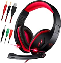 Gaming Headset with Microphone for Laptop,PC,PS4,Xbox ONE.maxin 3.5mm Wired Gaming Headphones with Noise Cancelling Volume Control Stereo Sound - Black and Red