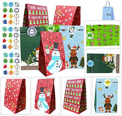 Bolsas de regalo navidad, 30pcs Bolsas Kraft Bolsas Papel, Bolsas para Chuches con 36Pegatinas de Agradecimiento para Cumpleaños, Bodas, Navidad, Fiestas