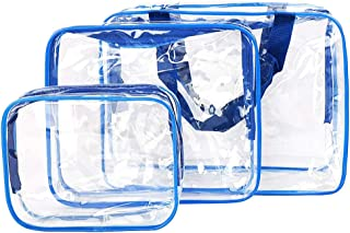 PVC Travel Storage Bags Clear Luggage Organizer Pouch Packing Cube Clothing Sorting Packages Pack of 3Pcs Blue
