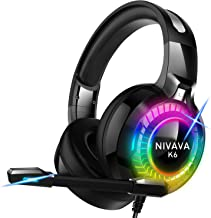 Best Nivava Gaming Headset for PS4, Xbox One, PC Headphones with Microphone LED Light Mic for Nintendo Switch PS5 Playstation Computer, K6(Black) Reviews