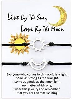 Jeka Unisex Distance Matching Bracelets Handmade Friendship Gifts for Best Friend Couples Adjustable String Bracelets for Women Men Girls 2 Set