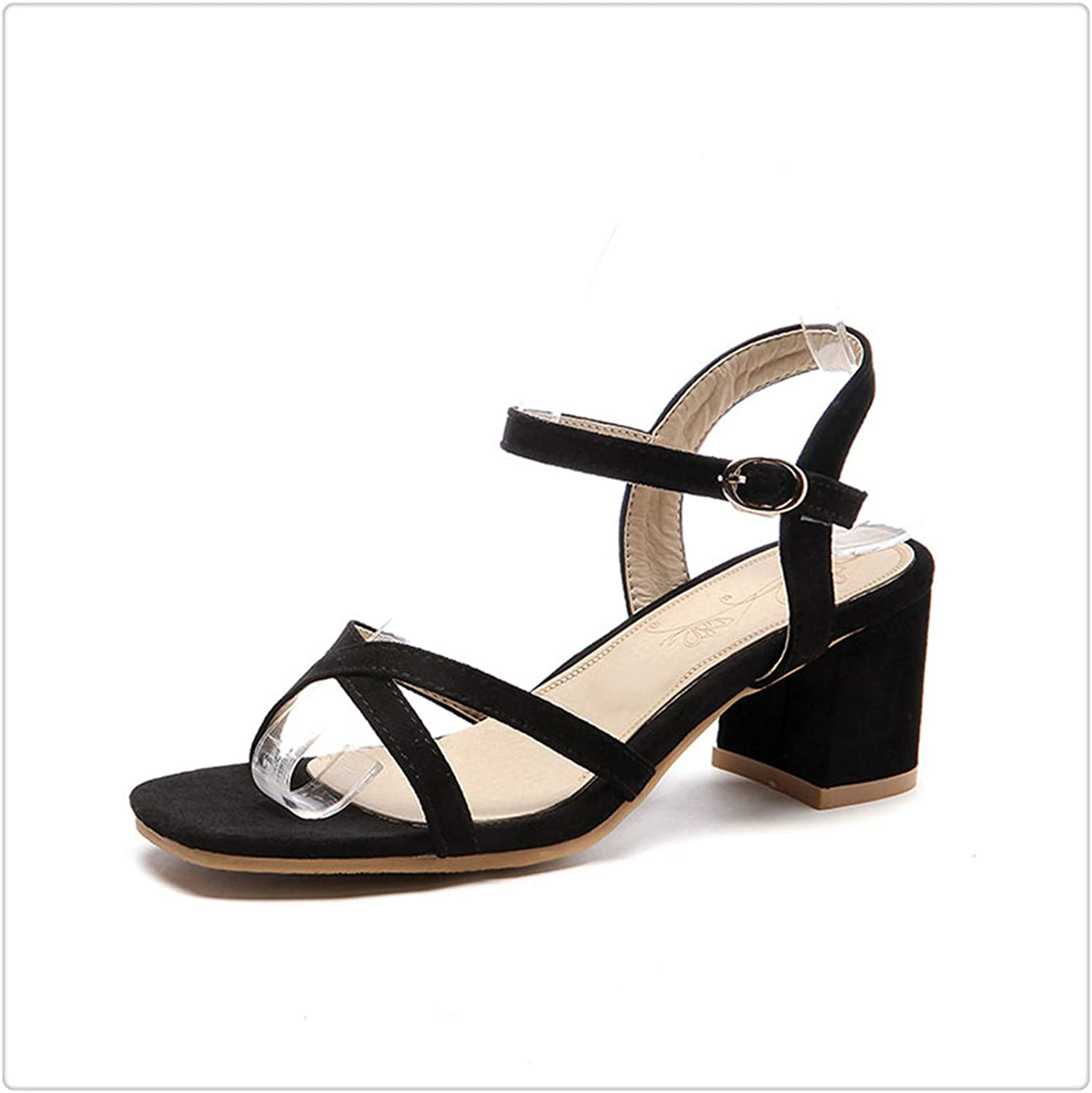 Yyixianma New Plus Size 32-46 Concise Ankle-Strap Summer shoes Women Sandals Fashion Square High Heels OL Sandals Woman Black 10