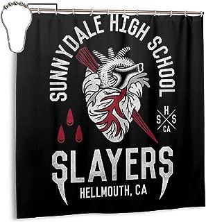 ENXIANGXIJ Waterproof Polyester Fabric Shower Curtain Sunnydale High School Buffy The Vampire Slayer Print Decorative Bathroom Curtain with Hooks,72