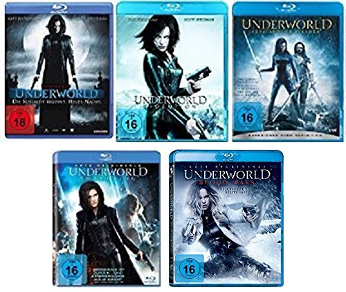Underworld 1-5 (Underworld - Evolution - Aufstand der Lykaner - Awakening - Blood Wars) FSK-18 Blu-Ray Set - Deutsche Originalware [5 Blu-rays]