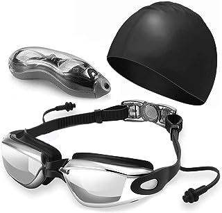 Gafas de Natación 3 en 1, Goggles Antiniebla UV, + Gorro de Natación con Tapones para los Oídos + Estuche, Resistente a...