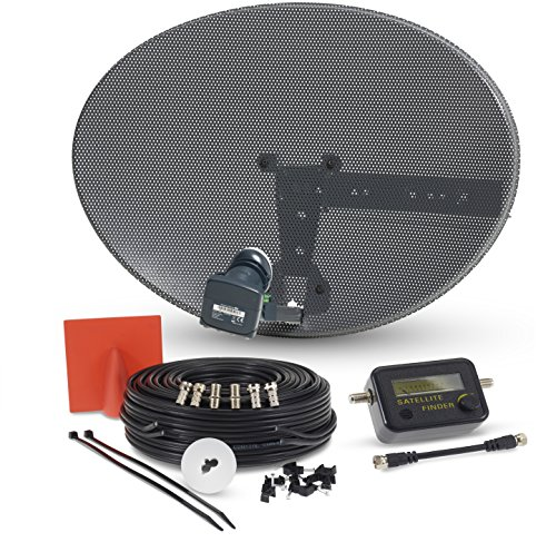 SSL Satellite Dish Kit for SKY/Freesat/Astra/Polsat/Hotbird/Full HD, Latest MK4 dish with Quad LNB,5m Twin Black Cable,Signal finder,Brackets,Bolts, F Connectors & instructions
