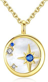 GemShadow donne ragazze 925sterling Silver Mother of the Pearl CZ Star Crescent Moon collana