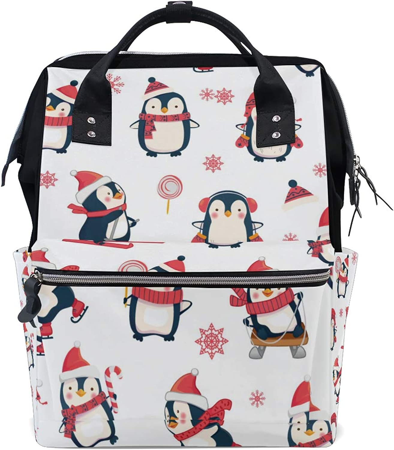 ColourLife Diaper bag Backpack Penguins Playing Tote Bag Casual Daypack Multifunctional Nappy Bags