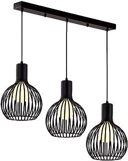 Vintage Lustre Luminaire Suspension Cage, Industriel lampe de plafond Rétro Abat-jour en Métal 3 Lampes E27 Corde Ajustabl...