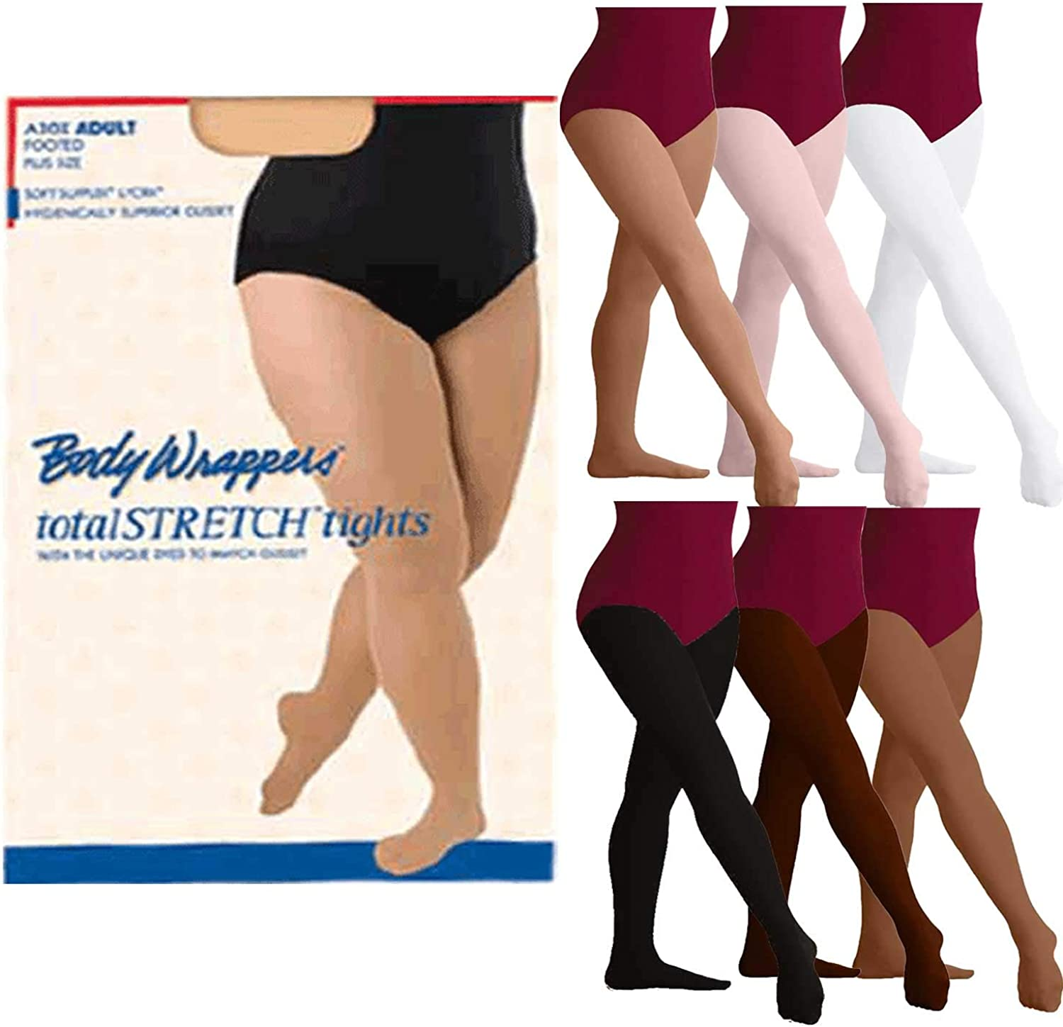Body Wrappers A30X Women's Plus Size TotalSTRETCH Footed Tights