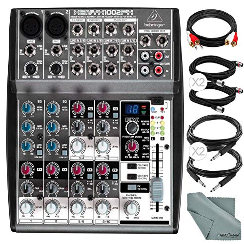 Behringer XENYX 1002FX 10-Channel Audio Mixer with Effects Processor and Accessory Bundle w/Cables + Fibertique Cloth