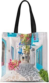 Semtomn Cotton Canvas Tote Bag Beautiful Architecture Building Exterior Santorini and Greece Vintage Light Reusable Shoulder Grocery Shopping Bags Handbag Printed