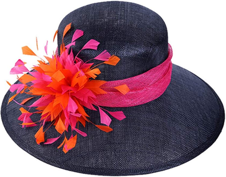 Rzxkad Hot Summer Hats Women Large Brimmed Linen Sun Visors Cap Handmade Feathers Ladies Hat Travel Beach Caps