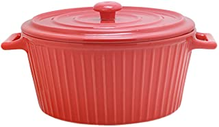 Jomop Casserole Dish with Lid 1.1 Quart Ceramic Casserole Pan for Bakeware Oven Colorful (1, Red)
