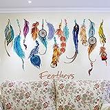 huichang - Adhesivo decorativo para pared, diseño de pluma estereotipada, 3D, para salón, dormitorio, fondo de pared,...