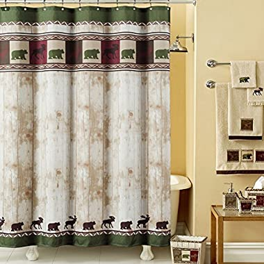DS BATH Woodland Vintage Bear Shower Curtain,Mildew Resistant Polyester Fabric Shower Curtain,Lodge Shower Curtains for Bathroom,Dk Green Print Decorative Waterproof Bathroom Curtains,78  W x 72  H