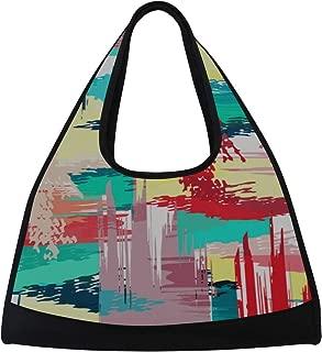 JGYJF Art Colorful Paint Block Spray Graffiti Custom Tennis Racquet Bag Fitness Bag 1 Racquet Tennis Racket Bag with Pockets Mens Tennis Racket Bag Racquet Shoulder Bag for Sport Travel Shopping