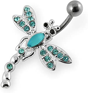 Fashion Multi Crystal Dragonfly 925 Sterling Silver with Stainless Steel Belly Button Rings