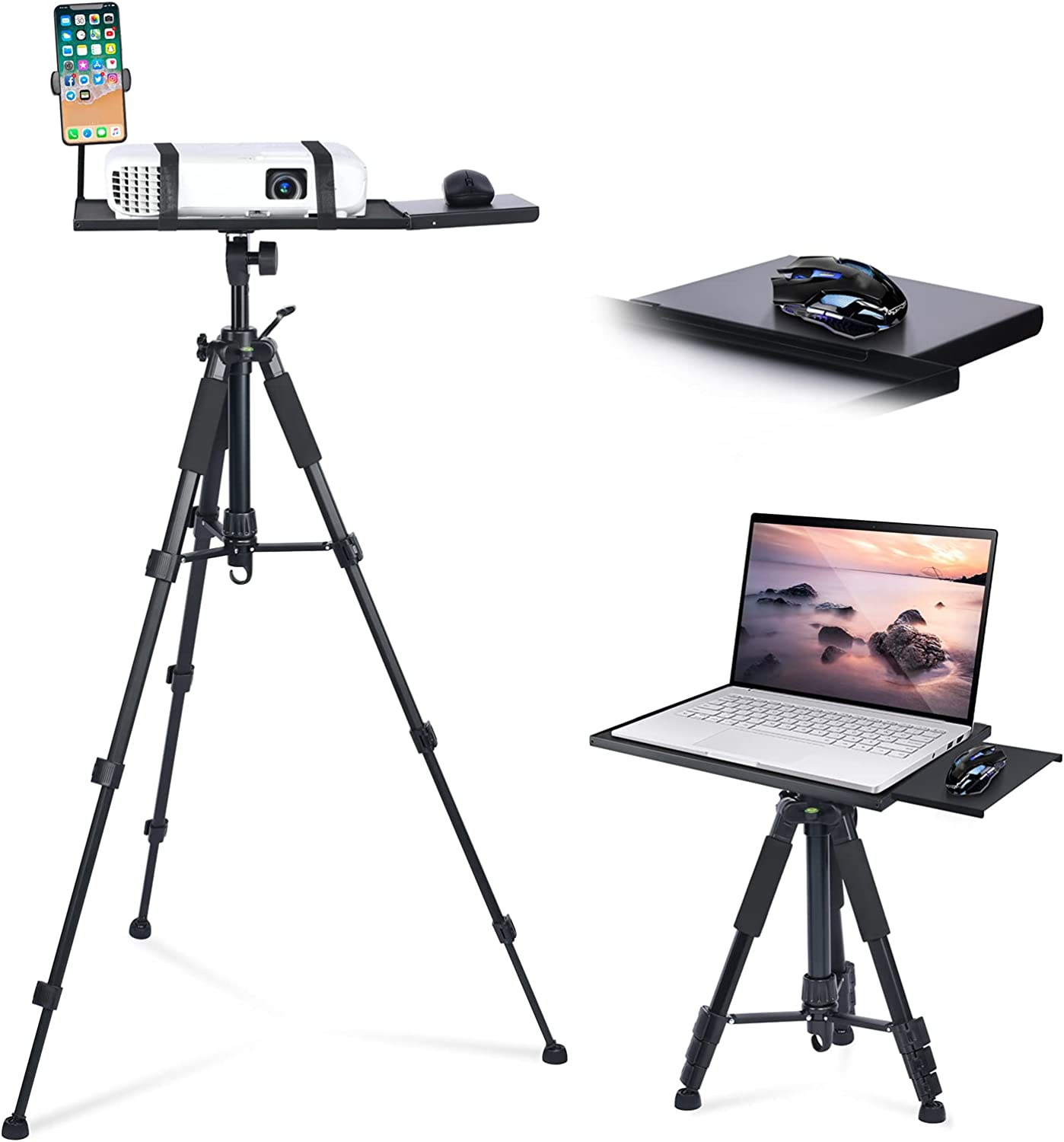 Klvied Universal Projector Tripod Stand - Laptop Tripod Stand with Removable Mouse Tray and Gooseneck Phone Holder, Laptop Floor Stand Adjustable 17.6 to 51.4 Inch, Projector Stand for Stage, Studio