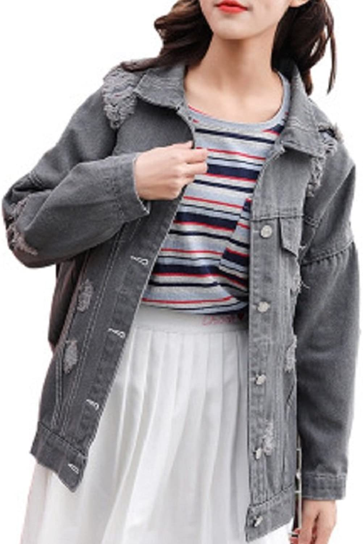 JudyBridal Womens Denim Jacket Ripped Jean Outerwear Boyfriend Long Sleeve Coat