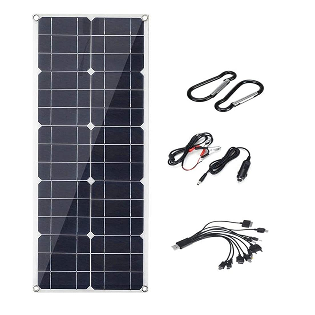 エンティティロッカー分数ソーラーパネル キャンプハイキングクライミングサイクリング200W柔軟なソーラーパネルのUSBコネクタ単結晶バッテリーチャージャー 太陽光発電 (Color : Black, Size : 30W)