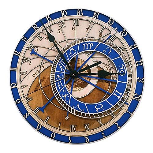 HM&DX Vintage Madera Reloj De Pared Sin Tic TAC, Tallada Astronómico Decoración Cuarzo Reloj De Pared Silencioso Redondo Sala Oficina-a 12 Inch