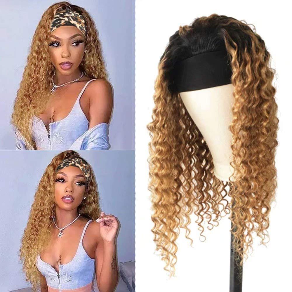 Affordhair 1B 27 Headband Human Max 54% OFF Hair Women For Black Wigs 2021 model Ombre