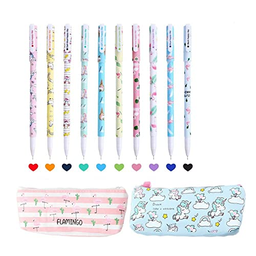 Perfect Unicorn Gifts,10 Pcs Unicorn Flamingo Gel Pens Set (Fine Point,0.5