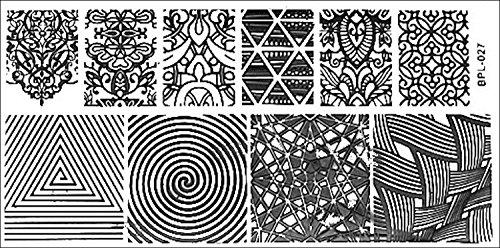 Pochoir de stamping XL 12,6 x 6,5 cm # BP motifs de L027 géométrique, spirale, Ranken