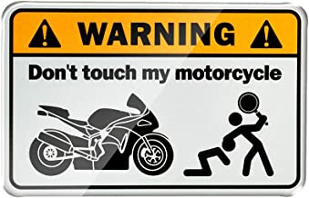 3D Warning Don't Touch My Motorcycle Motorbike Tank Decals Stickers Case for Universal Kawasaki Yamaha Honda Suzuki KTM Ducati (Silver)
